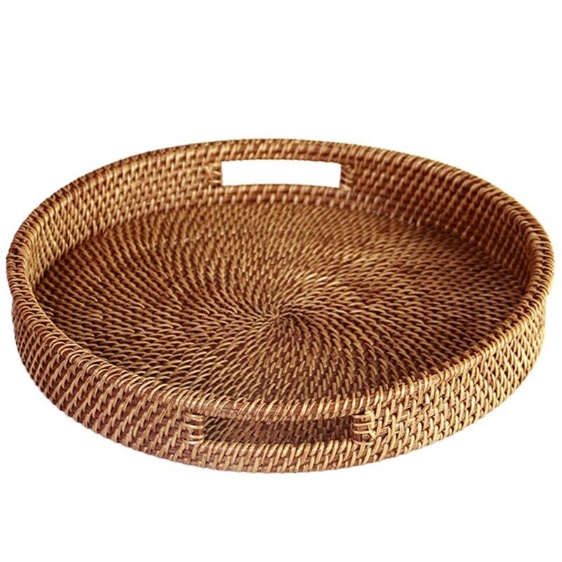 Gran oferta bandeja de ratán con mango, bandeja de mimbre multiusos tejida a mano con fibra de ratán duradera (diámetro redondo de 13,5 pulgadas, DIN