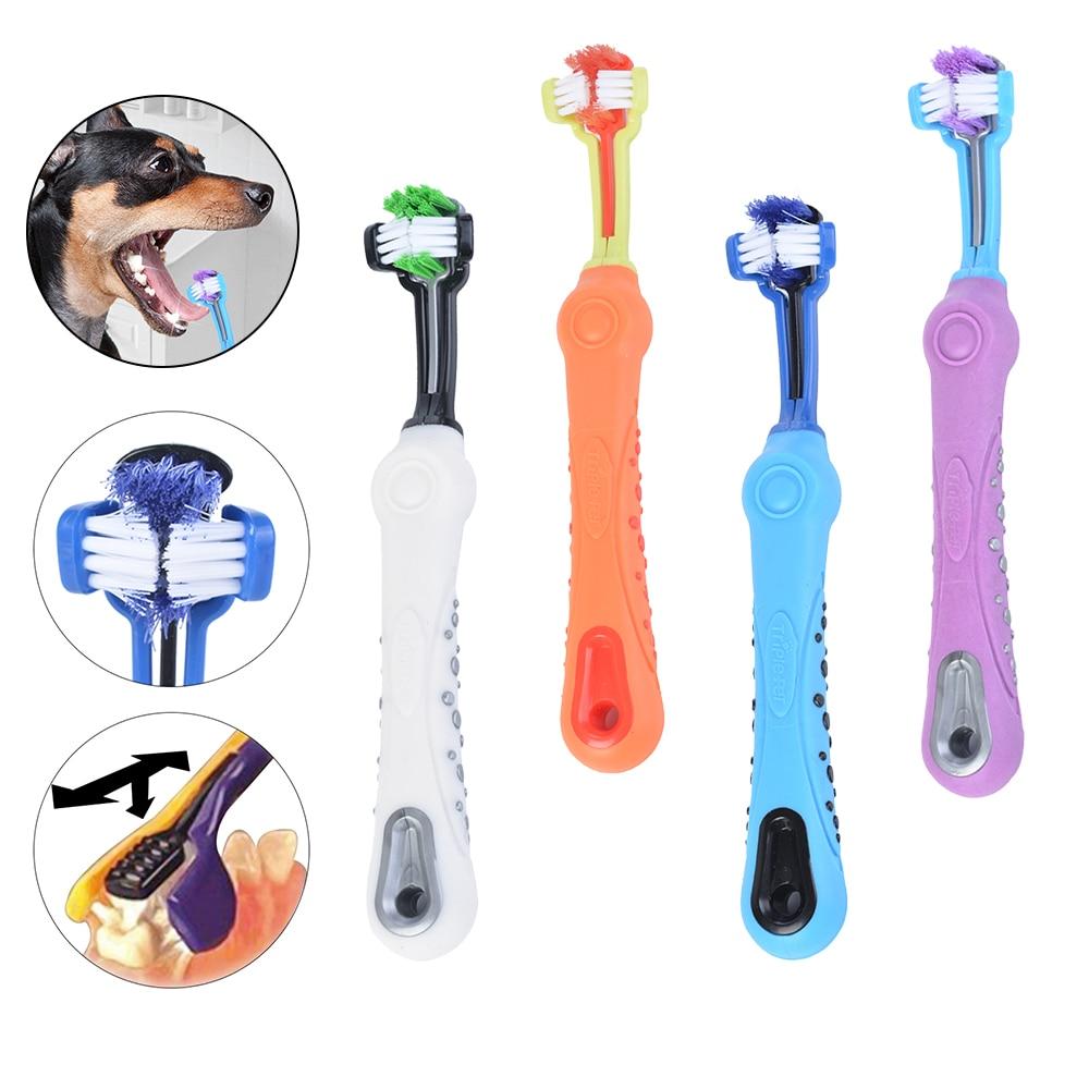 Três lados escova de dentes para animais estimação cão adição mau hálito tártaro dentes cuidado cão gato limpeza boca cão gato suprimentos de limpeza 7