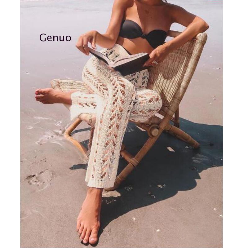 Cotton Crochet Beach Cover Up Swimsuit Cover Ups Women Beach Pants Fishnet Swimsut Covers Hollow Out Beachwear Knit Bathing Suit