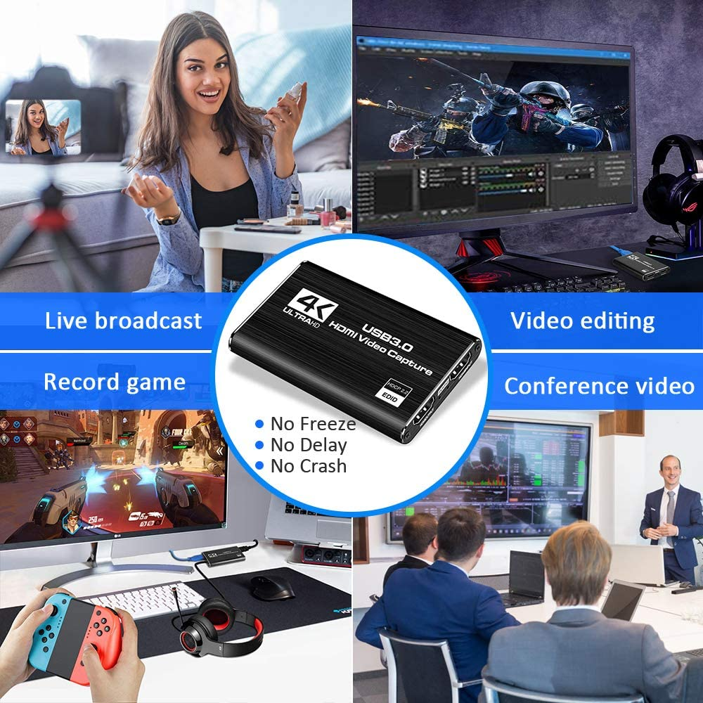 Audio Video Capture Card 4K HDMI to USB 3.0 Capture Card 1080P 60fps Live Streaming Game Recorder Device for PS4 enlarge