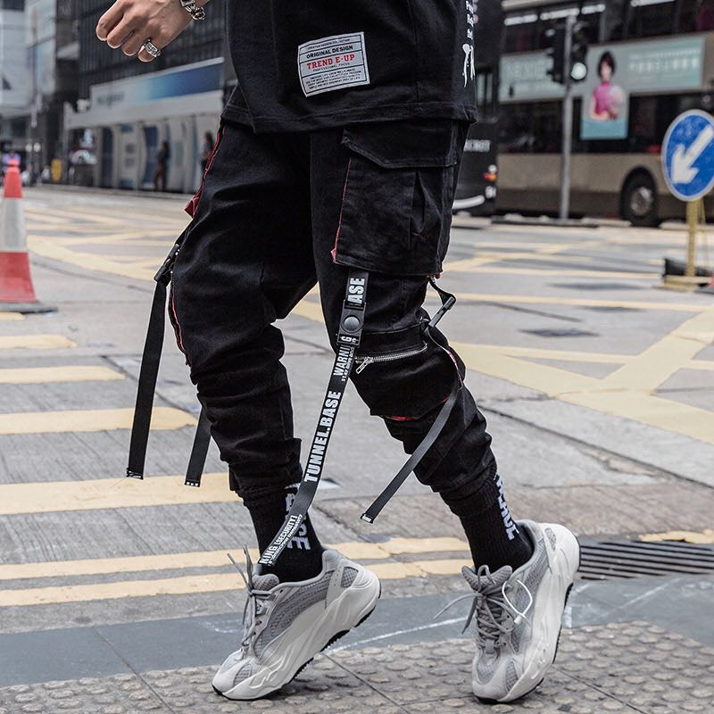 Men Hip Hop Black Cargo Pants joggers Sweatpants Overalls Men Ribbons Streetwear Harem Pants Women F