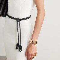 custom sheepskin knot waist rope fashion leather round rope thin belt womens small belt waist closing decorative waist chain