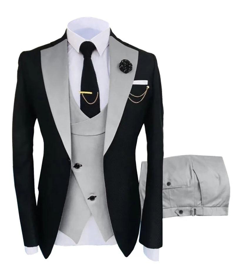 جديد زي ملابس رجالي تلائم الرجل النحيف الدعاوى سليم صالح بدلة عمل العريس الأسود البدلات الرسمية بدل زفاف سترة بانت سترة 3 قطع