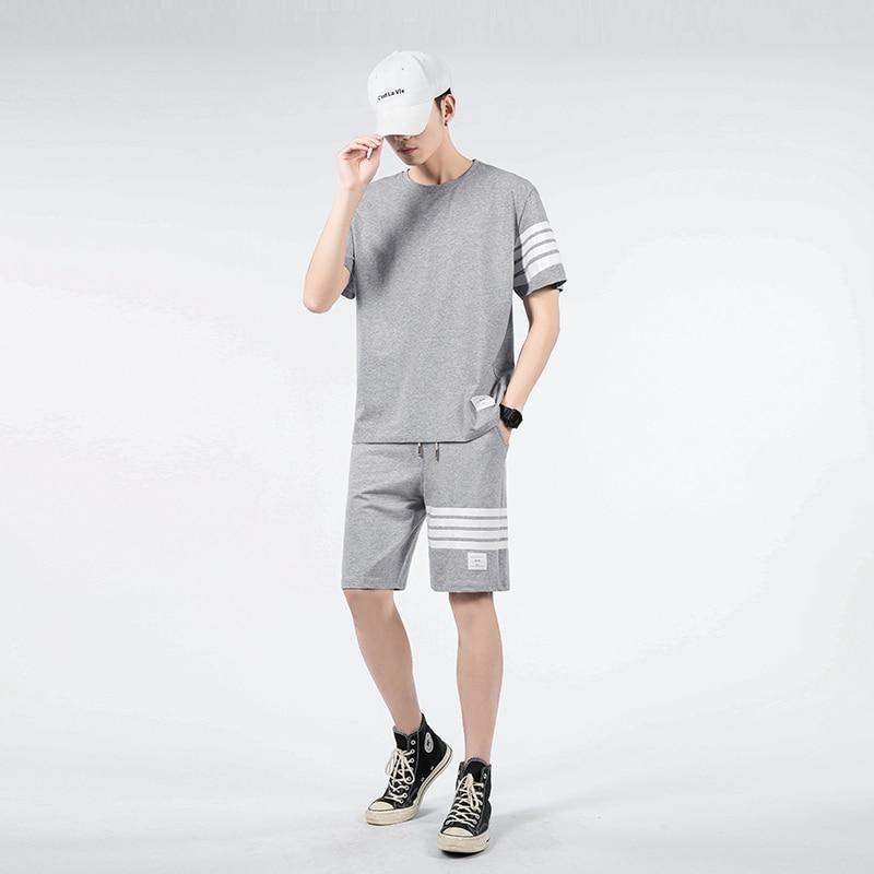 ملابس رجالية ، تي شيرت وشورت ، طقم صيفي من قطعتين ، بدلة رياضية كبيرة الحجم ، تصميم كوري ، 2021