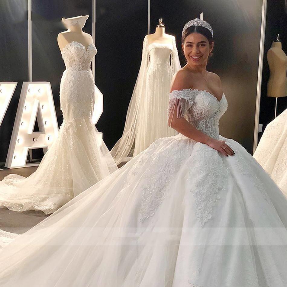 Vestido De Novia Vestido De boda con cuentas manga ello cariño cola...