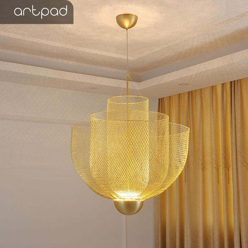 Artpad-lámparas De Techo Colgante con rejilla De Metal, diseño italiano, Moderna, tienda...