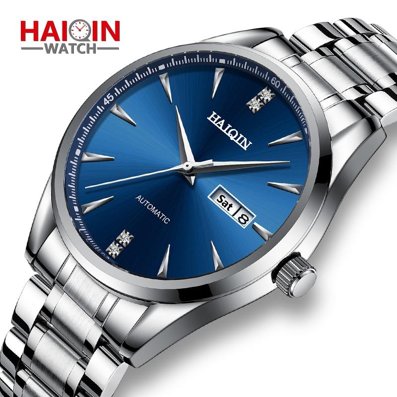 Relojes para hombre, reloj de pulsera mecánico automático para hombre, resistente al agua, de acero inoxidable, reloj de pulsera de negocios, reloj Casual HAIQIN