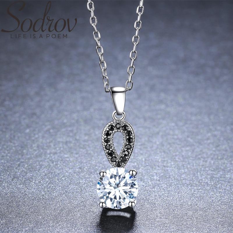 ¡Novedad de 2019! Collar de plata de ley SODROV romántico de 925 para mujer, colgante de columna negra, regalo para mujer KK012