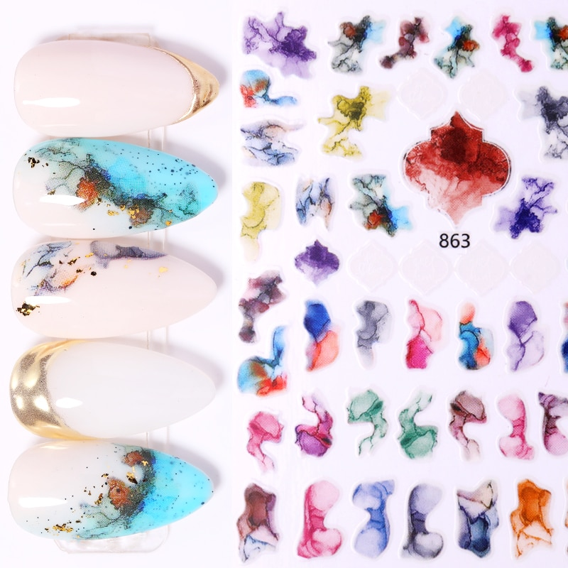 1 folha colorida ondulação 3d adesivos de unhas mármore blooming transferência de unhas decalques slider diy mármore arte do prego decorarion