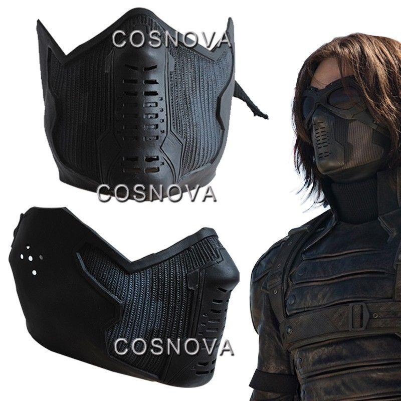 Máscara de soldado de invierno de Capitán América, máscara de James Buchanan Bucky, máscara de látex, Cosplay, accesorios de máscara para fiesta de Halloween
