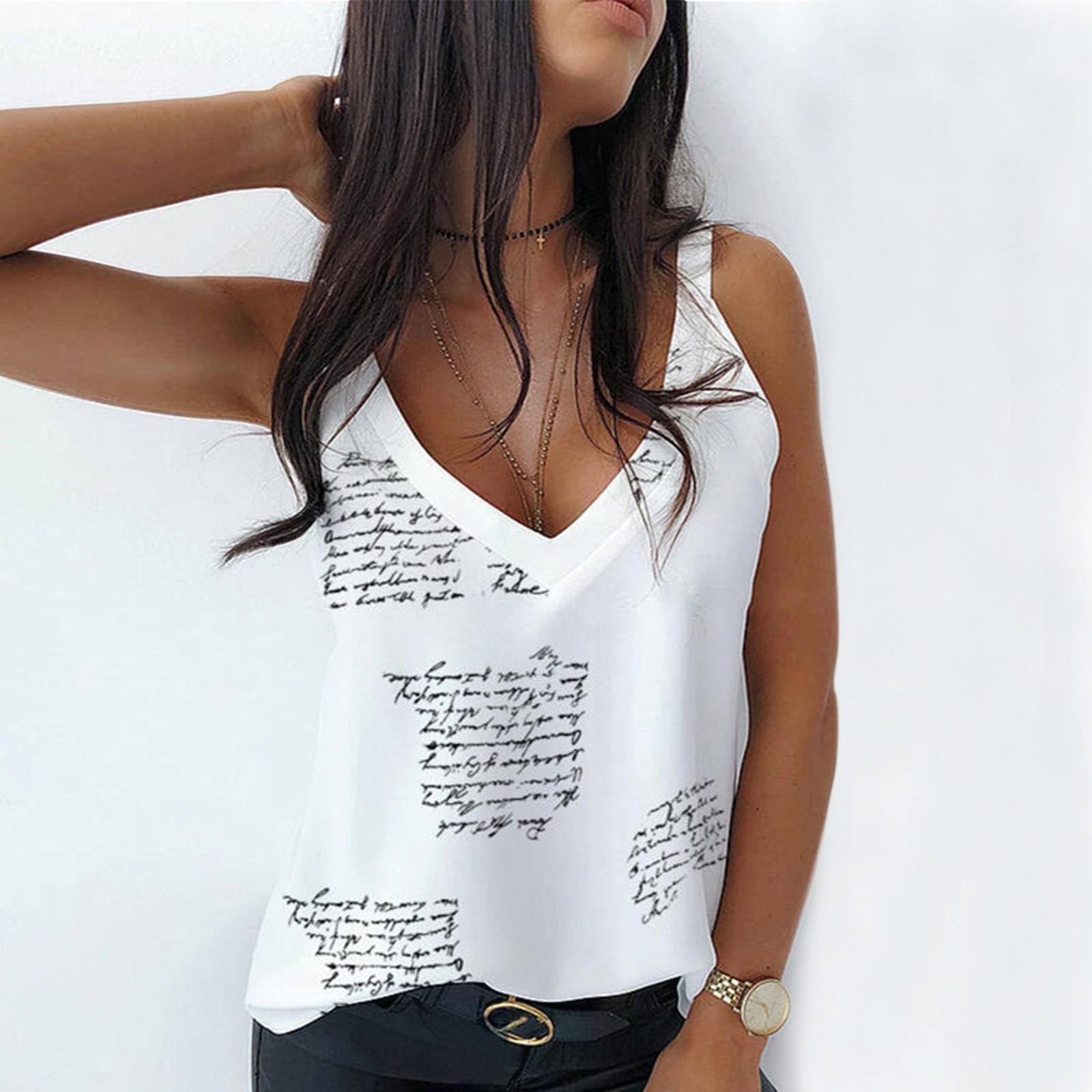 Chaleco sin mangas con cuello en V para mujer, camiseta Sexy con...