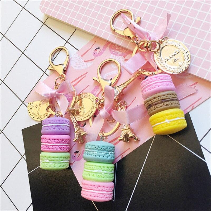 שרף Macaron Keychain מפתח שרשרת נשים מקרון תיק קסם צרפת LADUREE Macarons אייפל מגדל מחזיקי מפתחות anahtarlik llavero S133
