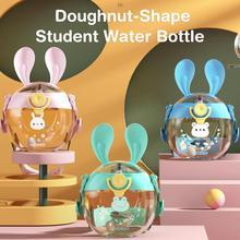 330ML Cute Donut Water Bottle With Straw Doughnut Kettle Leak Proof Bottle Portable Children Water C