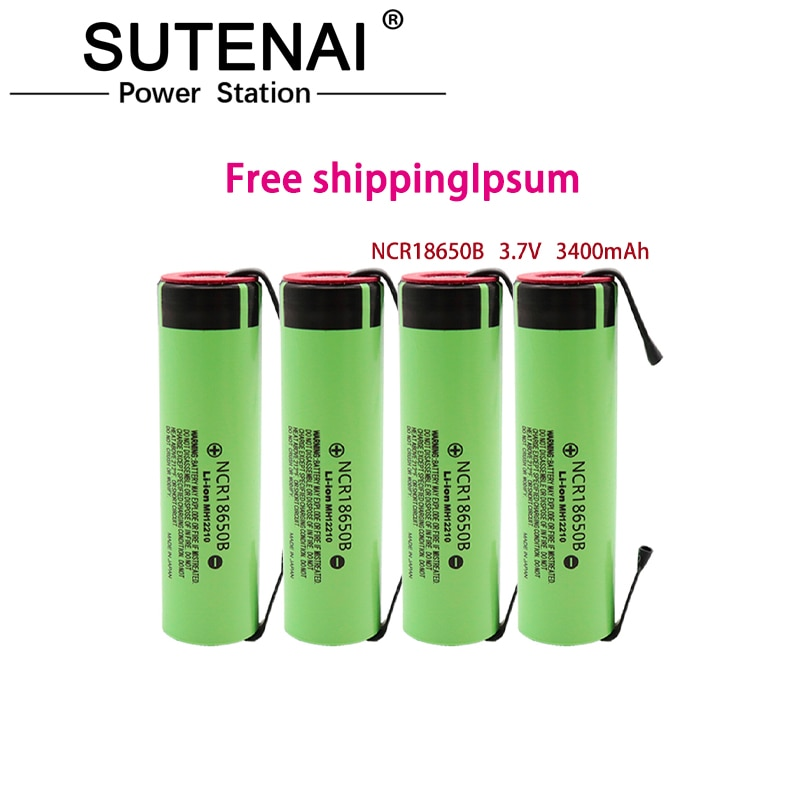 100% original NCR18650B 3.7V 3400mAh 18650 rechargeable lithium battery for 18650 battery + DIY nickel piece 18650 battery box for 3 7v rechargeable lithium battery 18650 battery storage case with pin high quality