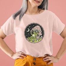 Frog Mushroom Moon Graphic Print Pure Cotton Women Tshirt Nature Shirt Unisex Funny Summer Casual Sh