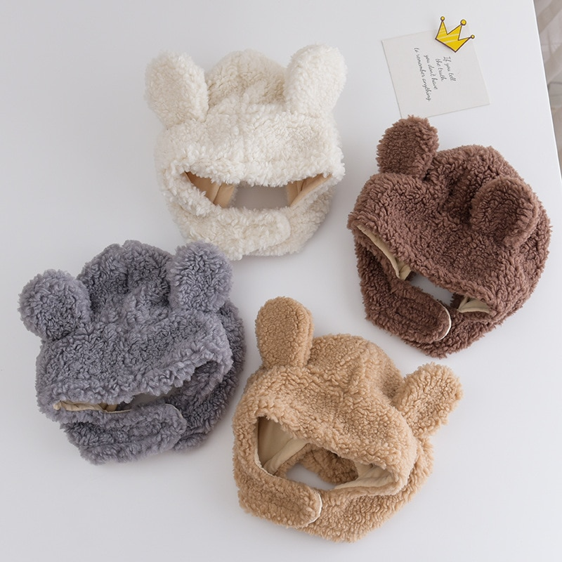 2020 Baby Stuff Accessories Winter Baby Girls Boys Warm Ears Hats Autumn Soft Beanie Hat Ear Plush Cap Fuzzy Solid Hats Props
