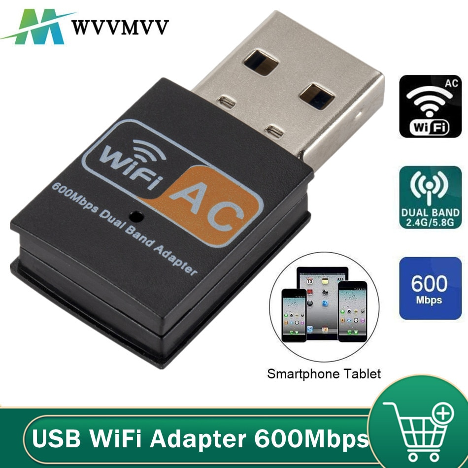 WVVMVV USB واي فاي محول 802.11b/g/n هوائي 600Mbps USB2.0 استقبال لاسلكي دونغل شبكة بطاقة الشبكة المحلية لأجهزة الكمبيوتر المحمول صندوق التلفزيون واي فاي
