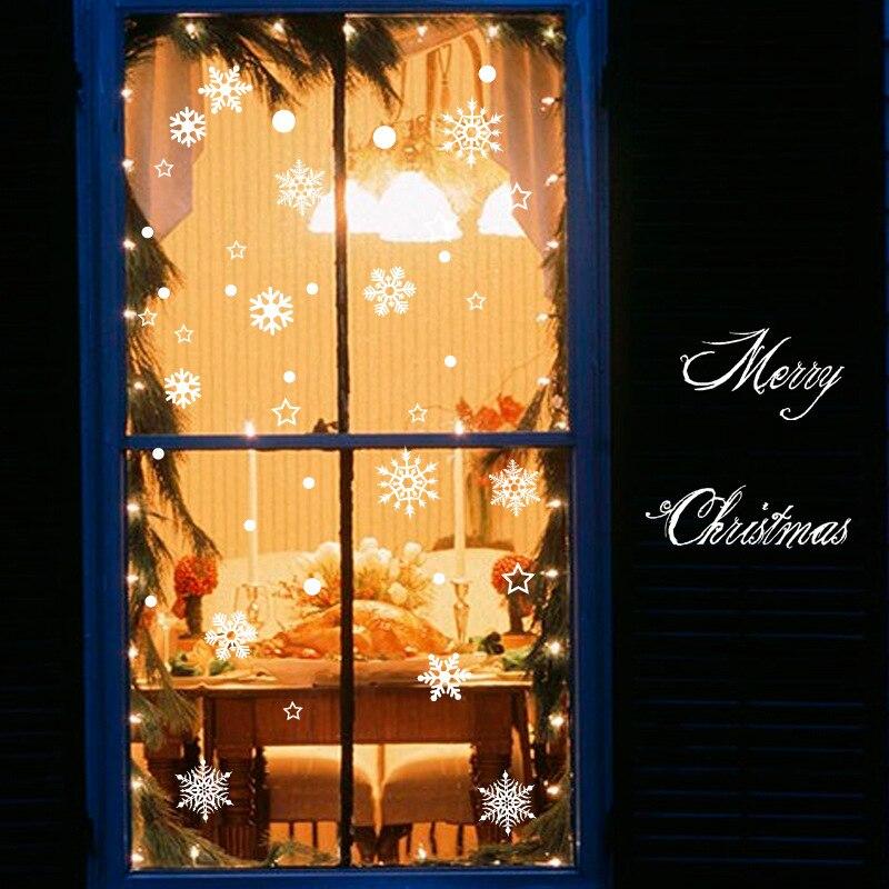 Pegatina electrostática barata de copo de nieve para ventana de cristal, decoración de invierno para habitación de niños, pegatinas de Navidad para pared, papel tapiz