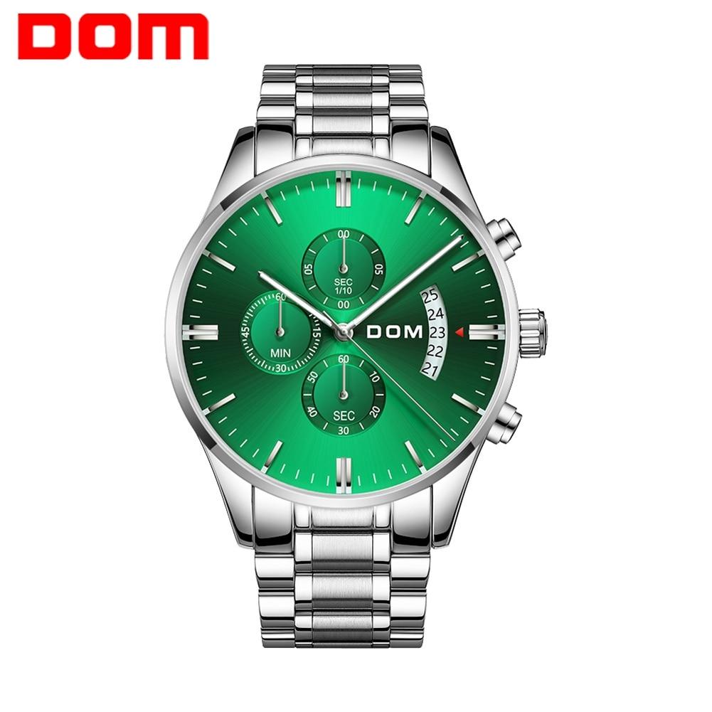 DOM أفضل العلامة التجارية موضة ساعات رجالي فاخرة الطلب الكبير العسكرية ساعة كوارتز الصلب مقاوم للماء ساعة ساعة الرجال هدية