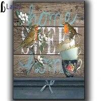 Sweet home oiseaux Motif De Broderie diamant 5D BRICOLAGE peintures 3D kits de point de Croix resine mosaique photos Ferme  manoir  decoration