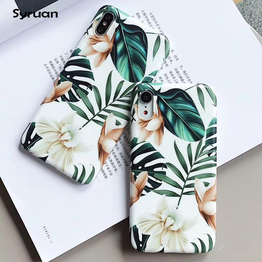 Funda de teléfono de hoja de flores de arte para iPhone XS Max XR 7 Flor de estilo de piña para iPhone 6 6S 7 8 Plus X funda trasera de teléfono suave