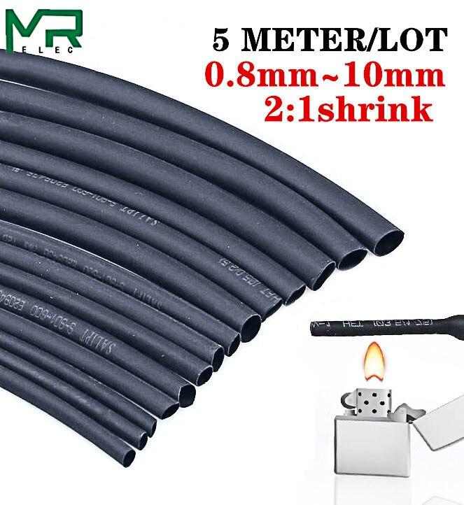 Mangas de cabo poliolefina para reparo, 5 metro/lote 2:1, preto, 0.8mm ~ 10mm, componente eletrônico diy, tubo termo retrátil