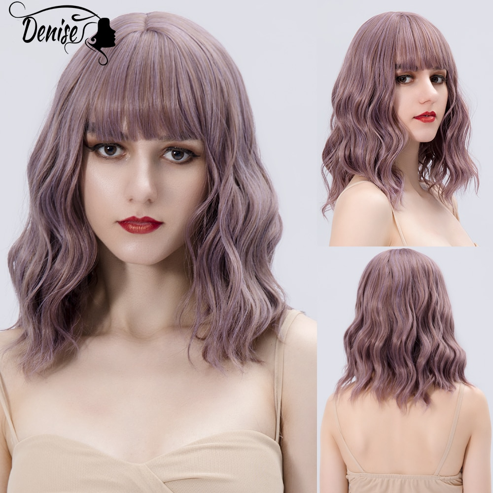 Purple Medium Wave Ombre Daily Hair Synthetic Wigs With Bangs For White Women Natural Cosplay Heat Resistant Fiber Female Wig