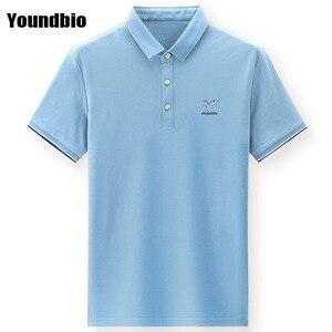 Рубашка-поло мужская с коротким рукавом, дышащая хлопковая сорочка с принтом, деловая Повседневная однотонная, лето