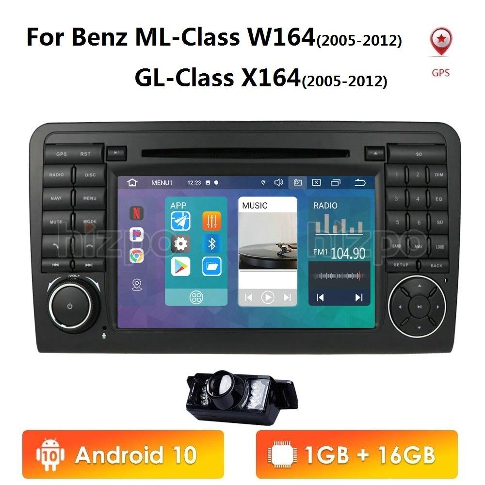 Android 10 Car DVD radio GPS para Mercedes Benz GL clase ML W164 X164 ML300 350 450 GL320 USB de la rueda de acero control DVR Cámara gratis