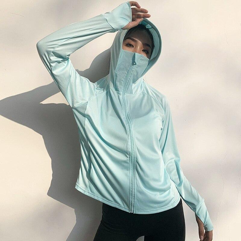 Wmuncc Breathable Sun-proof Sport Blouse Long Sleeve Hooded Gym Shirt Women Fitness Running Workout Top Zipper Jacket Thumb Hole