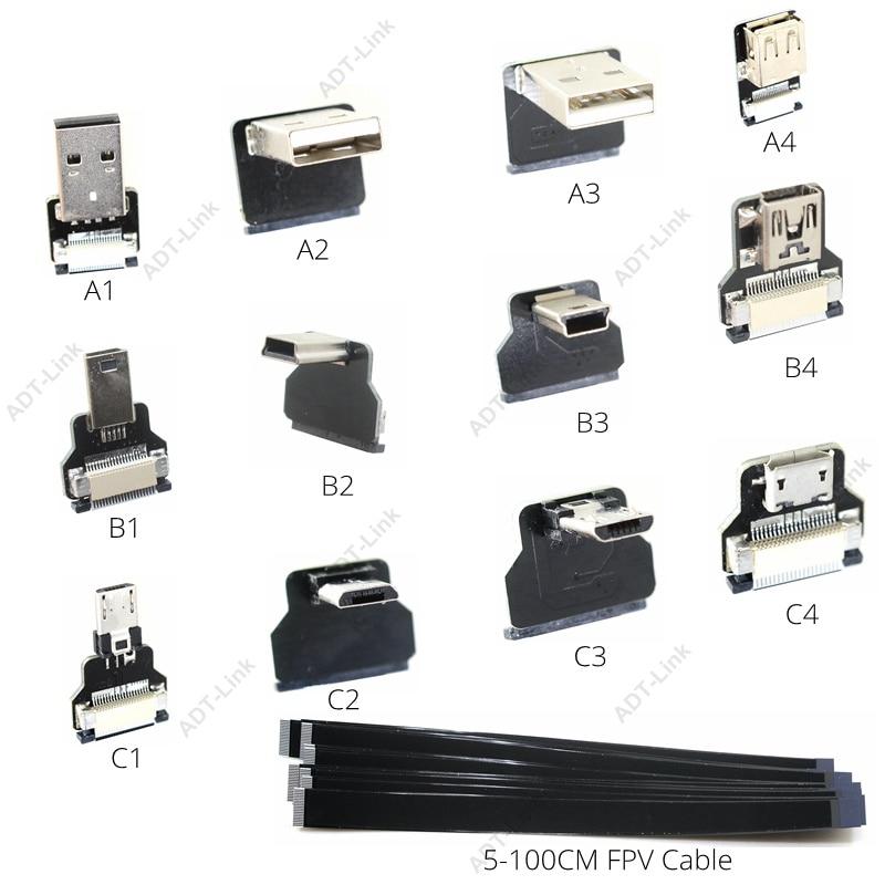 FFC Micro Mini USB FPV Slim Thin Flat Soft flexible FPC charge AV output OTG Cable for FPV Brushless Handheld Gimbal monitor