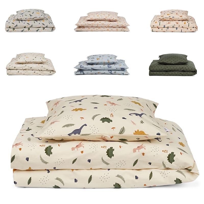 2 Pcs Baby Bedding Set Organic Cotton Kid Bed Linen Teen Boys Girls Duvet Covers Pillow Cases Printed Children Bed Sheet 3 Sizes