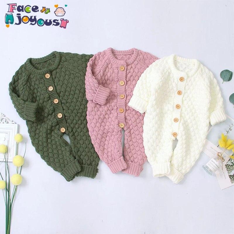 Ropa de bebé recién nacido bebé niña primavera suéter con botones de punto mono ropa para bebés trajes calientes ropa de bebé niña niño pequeño