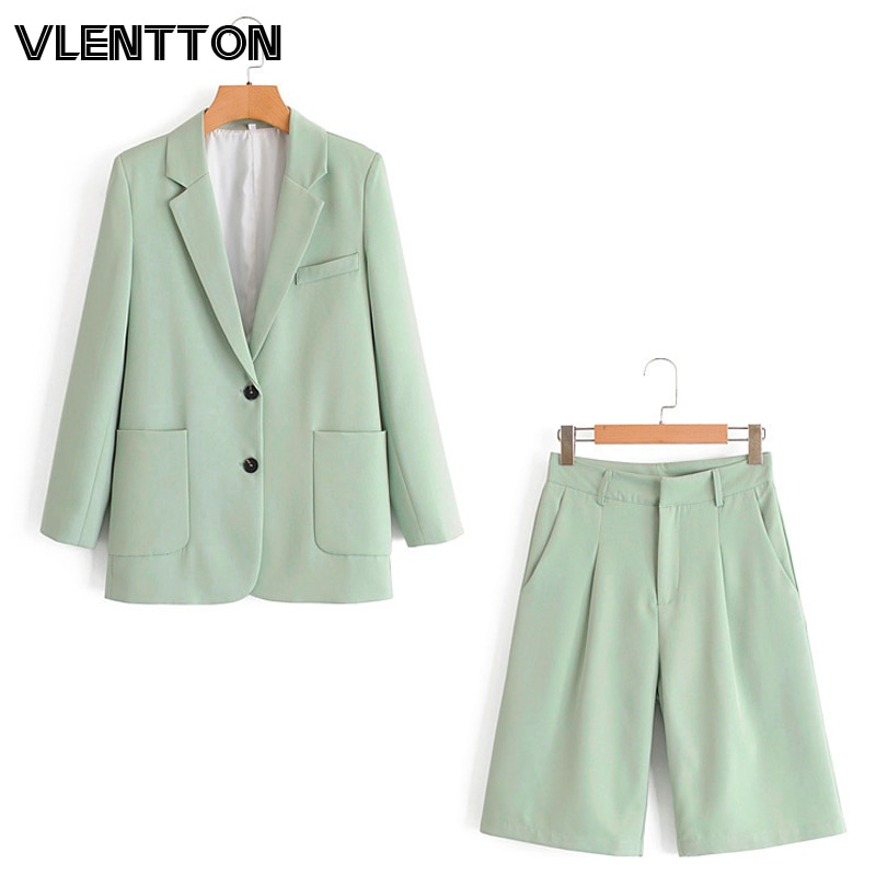 2020 Women Autumn OL Office Two Piece Set Solid Pockets Blazer Jacket Coat+Zipper Shorts Suits Female Tops Casual Loose Outfits