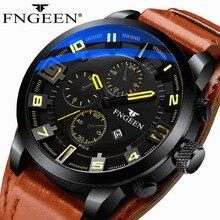 FNGEEN Herren Uhren Top Brand Luxus Männer Militär Sport Armbanduhr Leder Quarzuhr erkek saat Relogio Masculino Mode