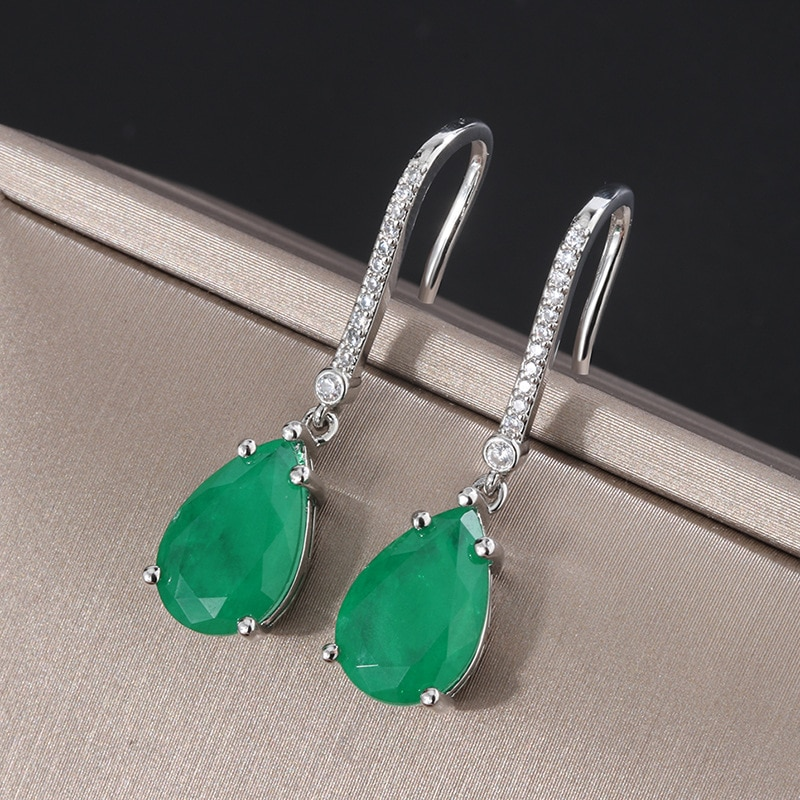 Shipei Vintage 925 Sterling Silver Water Drop Emerald Gemstone Dangle Earrings/Pendant/Necklace Wedding Engagement Jewelry Sets