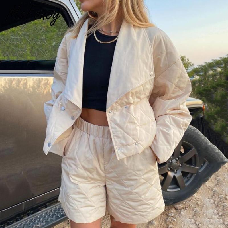Msfancy Winter Short Sets Women Quilted Coats High Waist Shorts 2 Piece Sets 2021 Female Fashion Cro
