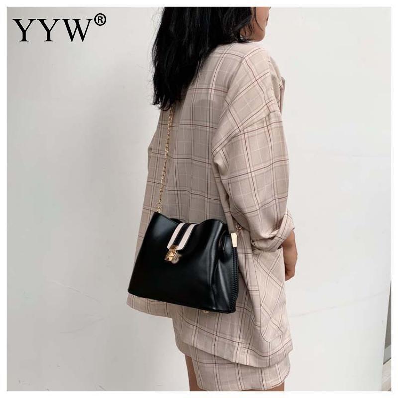 High Quality Hot Sale New Women Pu Leather Handbags Fashion Designer Black Bucket Vintage Shoulder Bags Messenger Bag