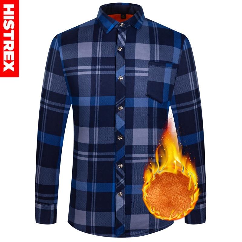 Camisas de hombre Otoño Invierno grueso polar Oficina Plaid Casual ropa Social de manga larga de franela gemelos con diseño navideño camisa hombres