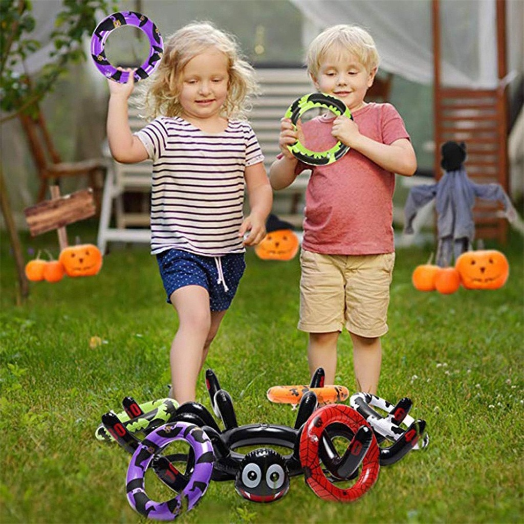 Juguete de Halloween utilería araña juego círculo inflable araña anillo Toss vacaciones Halloween decoración fiesta familia juego Juguetes