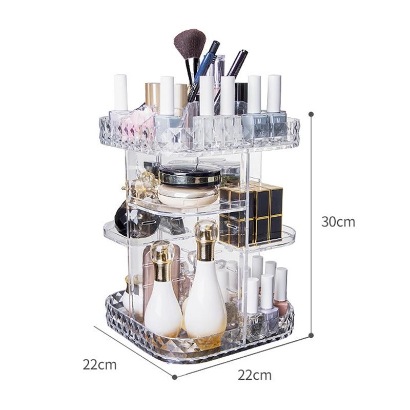 Caja organizadora de maquillaje giratoria de acrílico de 360 grados, caja de almacenamiento de joyería para cosméticos desmontable DIY, marcas de moda transparente