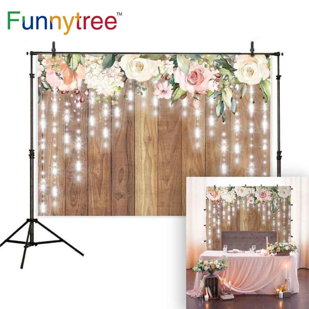Funnytree fotografía telón de fondo rústico brillante para bodas flor madera boda...