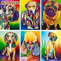 RUOPOTY     Kits de peinture de chiens par numeros  dessin danimaux sur toile  cadeau peint a la main  decoration de maison  DIY bricolage