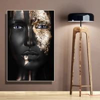 modern african art black and gold woman canvas painting luxury portrait painting poster and prints wall picture for living room