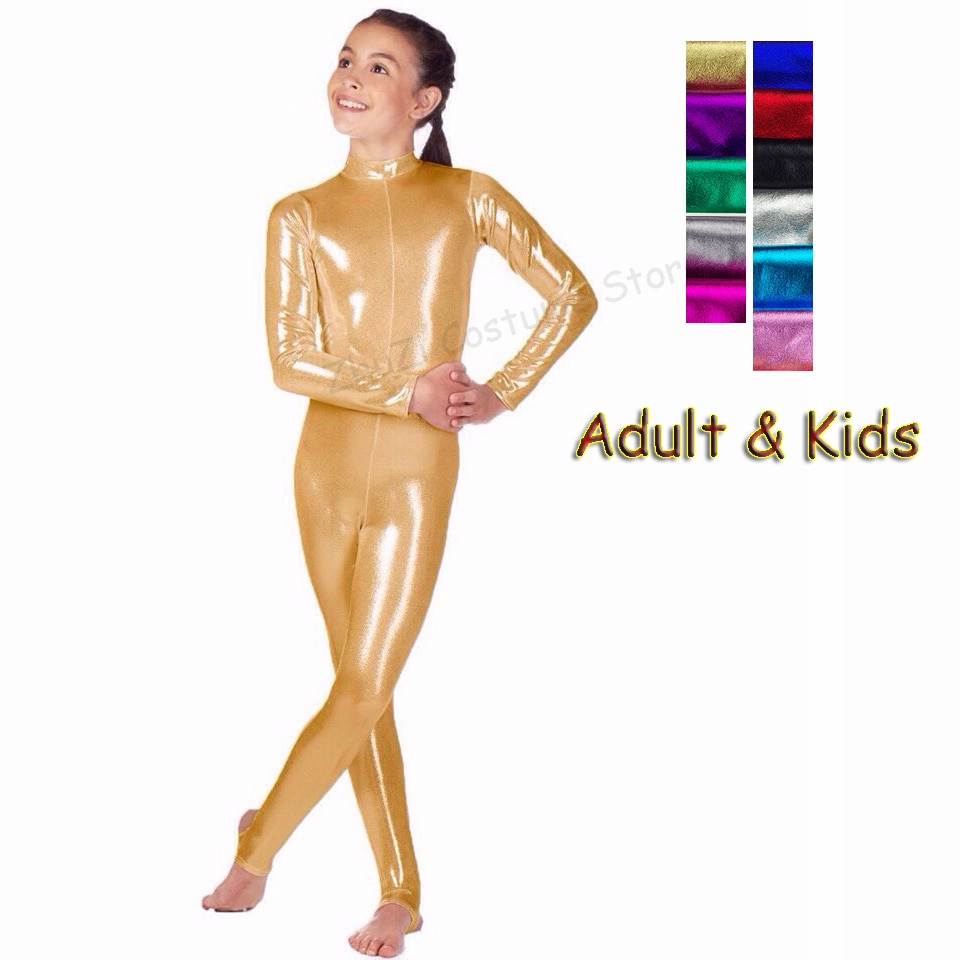 Adult Kids Long Sleeve Metallic Gymnastics Leotard Shiny Ballet Dance Bodysuit Unitard Girls Women S