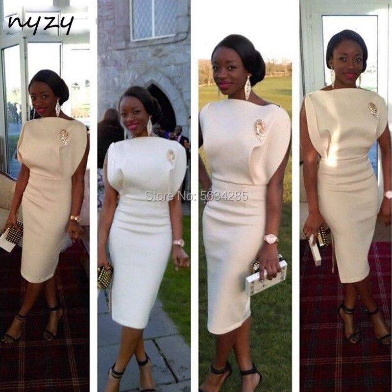 فستان كوكتيل أنيق من الساتان الأبيض ، 2020 ، NYZY C9 ، فستان أفريقي للمشاهير ، فستان سهرة للحفلات