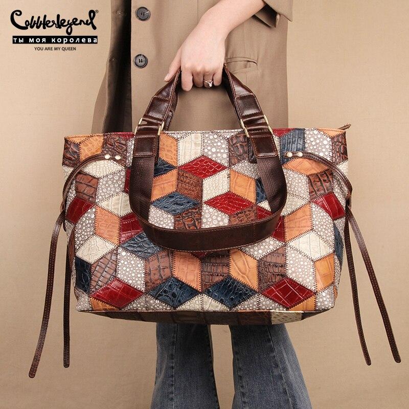2020 New Luxury Branded Women's Genuine Leather Vintage Handbags Designers Ladies Shoulder Crossbody Bag Female Large Totes