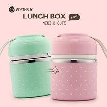 WORTHBUY Nette Japanische Lunchbox Für Kinder Schule Tragbare Lebensmittel Container Edelstahl Bento Box Küche Dicht Lunchbox