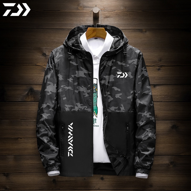 Daiwa Clothing for Men Fishing Jacket Hooded Zipper Quick Dry Windproof Fishing Wear Camouflage Outdoor Hiking Shimanos Clothes