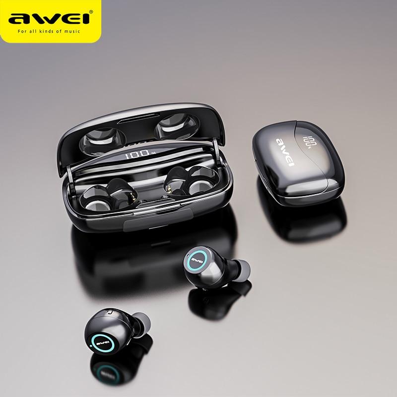 AWEI-سماعة رأس استريو T19 TWS 5.0 ، 2500 مللي أمبير ، مع شاشة LED ، سوبر باس ، إلغاء الضوضاء ، مقاوم للماء ، IPX5 ، مع ميكروفون مزدوج ، للألعاب والرياضة